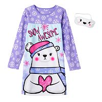 Girls Jelli Fish Animal Fleece Nightgown & Eyemask