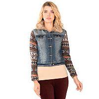 Juniors' Wallflower Faux Fur Collar Denim Jacket