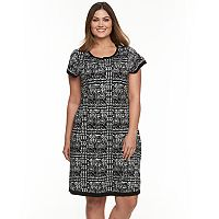 Plus Size Suite 7 Houndstooth Fit & Flare Sweaterdress
