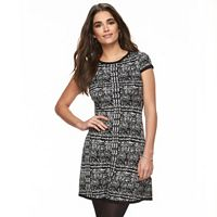 Petite Suite 7 Houndstooth Fit & Flare Sweaterdress