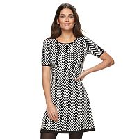 Petite Suite 7 Chevron Fit & Flare Sweaterdress