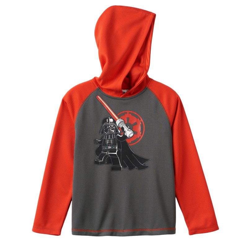 Boys 4-7x LEGO Star Wars Darth Vader Hooded Thermal Raglan Tee, Boy's, Size: 7, Dark Grey