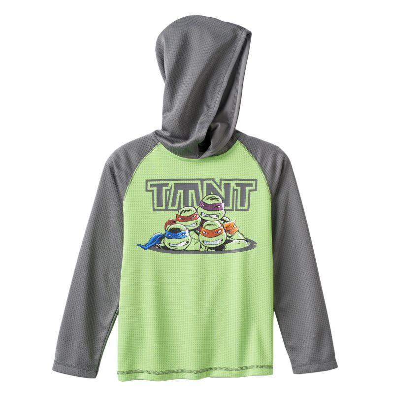 Boys 4-7x Teenage Mutant Ninja Turtles Hooded Thermal Raglan Tee, Boy's, Size: 7X, Green Oth