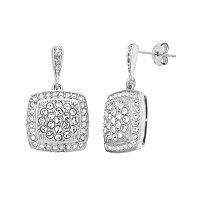 Diamond Essence Sterling Silver Crystal Square Drop Earrings
