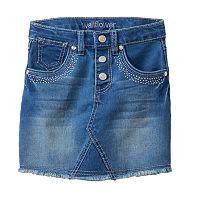 Girls 4-6x Wallflower Girl Studded Fringe Jean Skirt