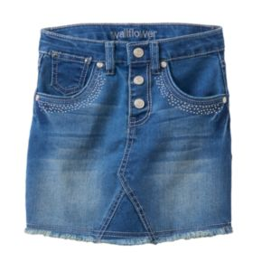 Girls 4-6x Wallflower Girl Studded Fringe Jean Skirt