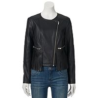 Juniors' Coffee Shop Fringed Faux-Leather Moto Jacket