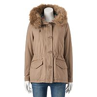 Juniors' Coffee Shop Hooded Faux-Fur & Twill Jacket