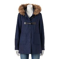 Juniors' Coffee Shop Wool Toggle Faux-Fur Jacket
