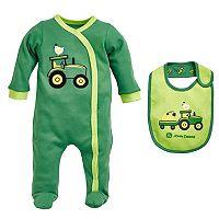 Baby Boy John Deere Tractor Sleep & Play & Bib Set