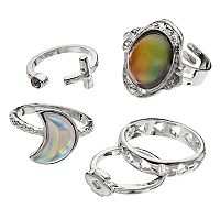 Mudd® Crescent, Oval & Bar Ring Set