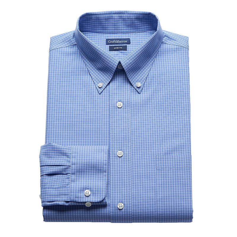 Men 39 s croft barrow classic fit no iron striped dress for Mens no iron dress shirts