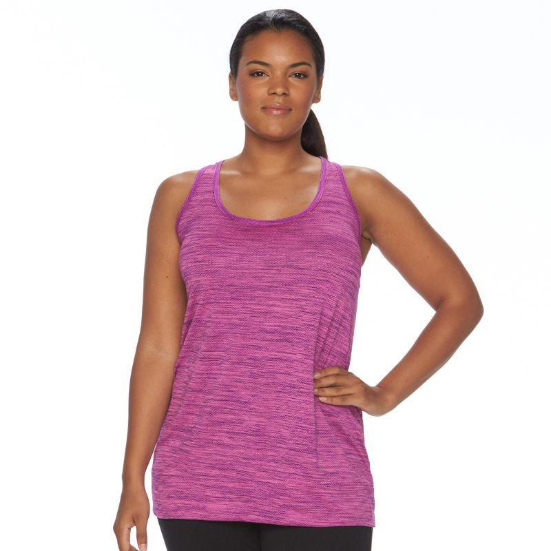 Plus Size Tek Gear® Mesh Banded-Bottom Racerback Workout Tank, Women's, Size: 3XL, Med Purple