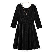 Girls Plus Size Lilt Glitter Velvet 3/4-Length Sleeve Skater Dress with Necklace