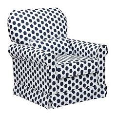 Storkcraft Upholstered Polka-Dot Swivel Glider by