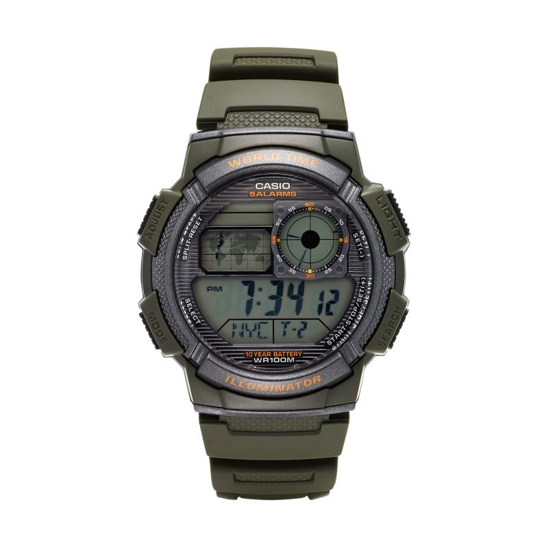 Casio Men's World Time Digital Chronograph Watch - AE1000W-3AVCF, Green thumbnail