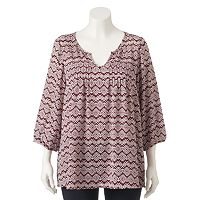 Juniors' Plus Size HeartSoul Notchneck Pintuck Top