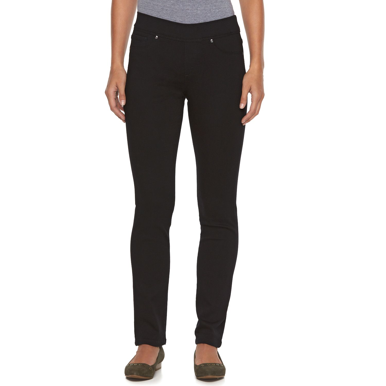 Womens Dana Buchman Slim Straight-Leg Pull-On Jeans