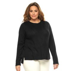 Plus Size Dana Buchman Chevron-Ribbed Scoopneck Sweater