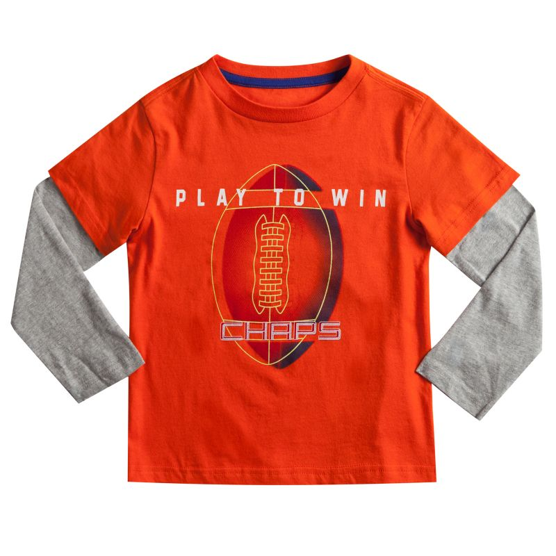 Boys 4-7 Chaps Mock-Layered Long Sleeve Sports Graphic Tee, Boy's, Size: 7, Orange