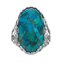 Sterling Silver Simulated Turquoise Filigree Oval Ring