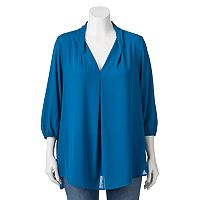 Juniors' Plus Size About A Girl Pleated V-Neck Top