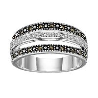 Silver Luxuries Silver Plated Marcasite & Crystal Striped Ring