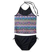Girls Plus Size SO® Mesh Yoke 2-pc. Halter Tankini Swimsuit Set