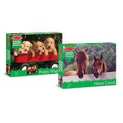 Melissa & Doug Puppy & Horse 100-pc. Cardboard Jigsaw Puzzle Set by