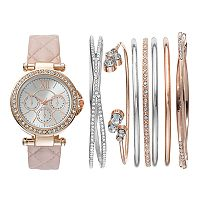 Women's Crystal Watch & Bangle Bracelet Set