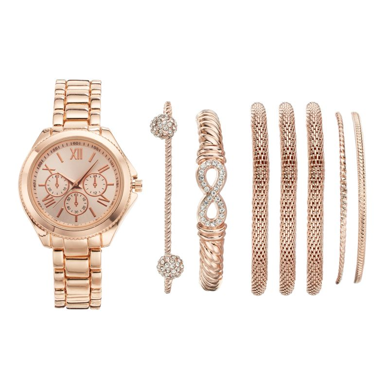 Women's Watch & Bracelet Set, Pink thumbnail