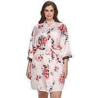 Plus Size Apt. 9® Fantasy Bouquet Satin Kimono Wrap Robe