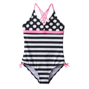 Girls Plus Size SO® Polka-Dots & Stripes Braided Strap One-Piece Swimsuit