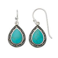 Silver Luxuries Simulated Turquoise & Marcasite Teardrop Earrings