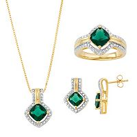 Two Tone Lab-Created Emerald & Diamond Accent Jewelry Set