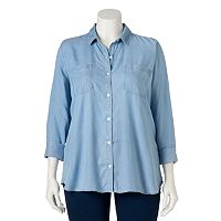 Juniors' Plus Size SO® Perfectly Soft Button-Down Chambray Shirt
