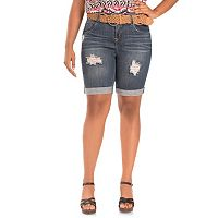 Juniors' Plus Size Wallflower Belted Ripped Denim Bermuda Shorts