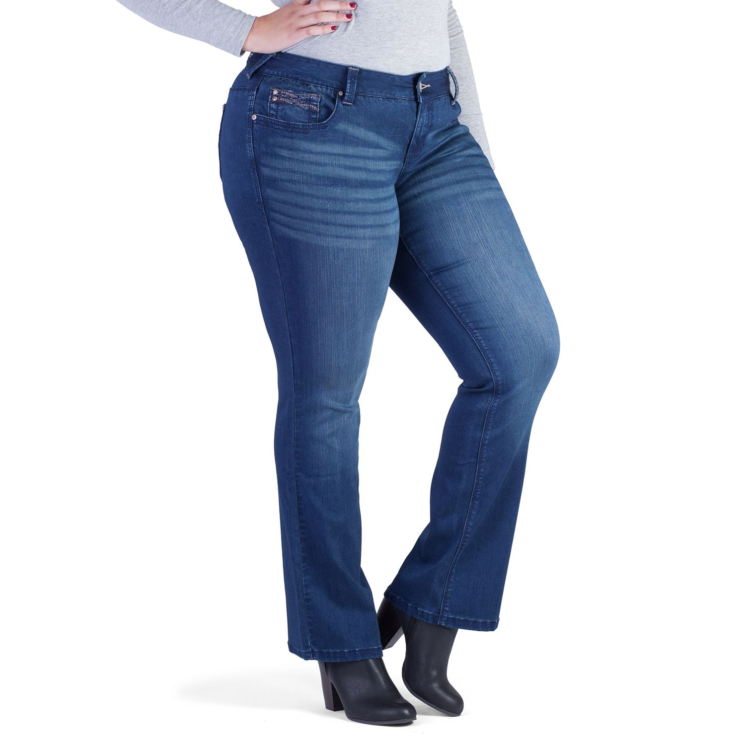 Juniors Plus Size Amethyst Whiskered Dark Wash Bootcut Jeans
