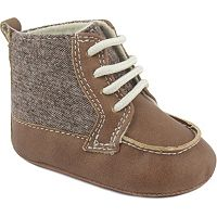 Baby Boy Wee Kids Textured Wool Lace Up High-Top Crib Shoes