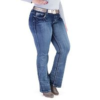 Juniors' Plus Size Amethyst Belted Faded Bootcut Jeans