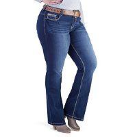 Juniors' Plus Size Amethyst Fleur-de-Lis Bootcut Jeans