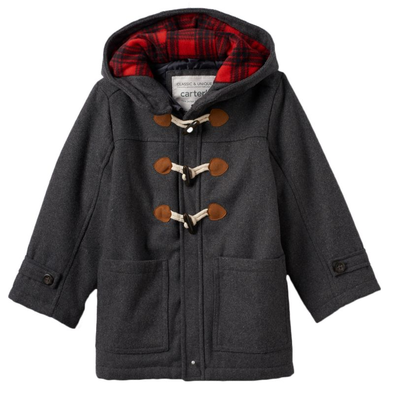 Boys 4-7 Carter's Hooded Wool Peacoat, Boy's, Size: 7, Grey