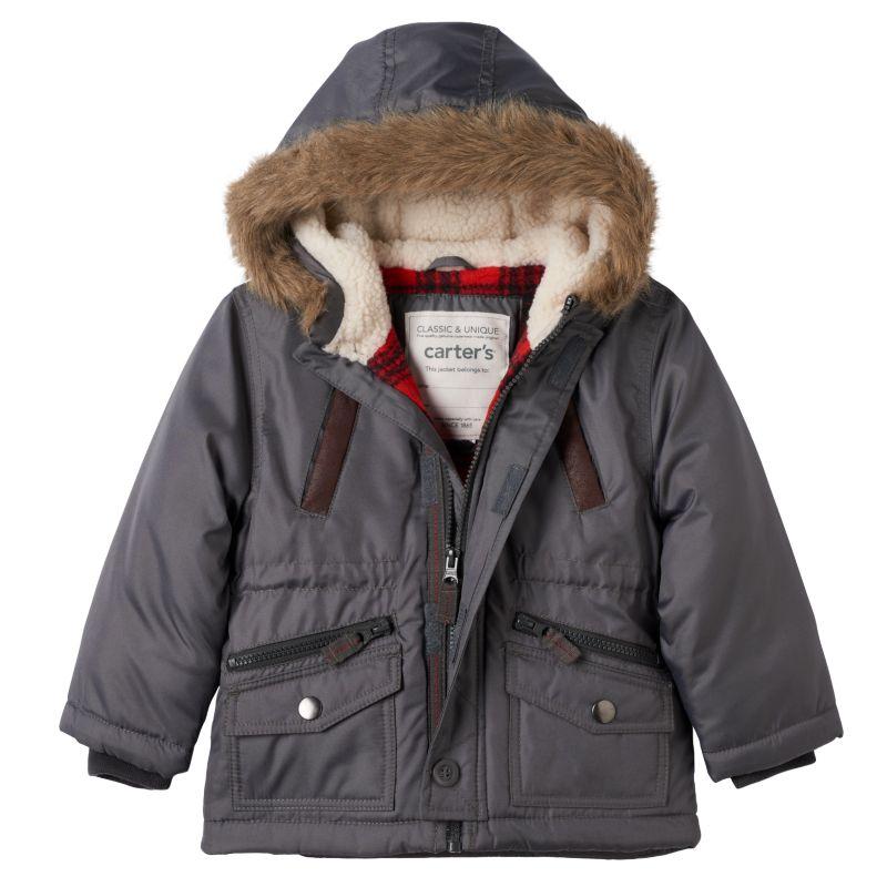 Boys 4-7 Carter's Hooded Faux-Fur Jacket, Boy's, Size: 4, Grey