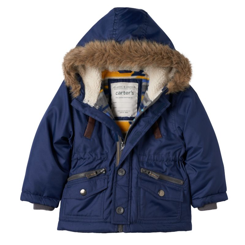 Boys 4-7 Carter's Hooded Faux-Fur Jacket, Boy's, Size: 4, Blue (Navy)