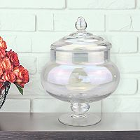 Stonebriar Collection Medium Glass Round Apothecary Jar Table Decor