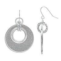 Apt. 9® Glittery Silver Tone Drop Hoop Earrings