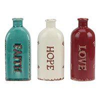 Sentiment Ceramic Bottle Table Decor 3-piece Set