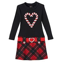 Girls 4-6x Lilt Sequin Candy Canes Plaid Holiday Dress