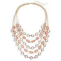 LOLI BIJOUX Breast Cancer Awareness Pink Layered Necklace