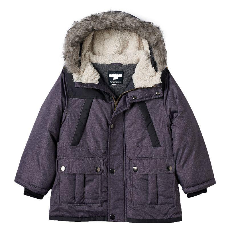 Toddler Boy OshKosh B'gosh Hooded Faux-Fur Jacket, Size: 4T, Black